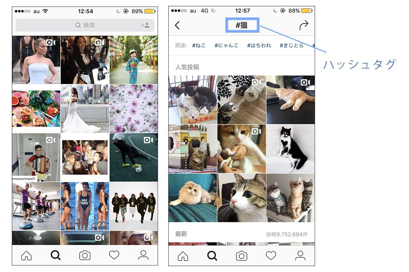 Instagramのハッシュタグ機能で検索している場面の画像
