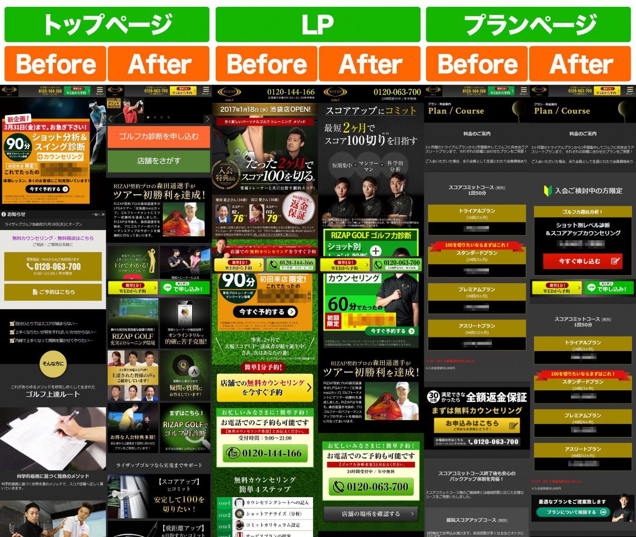 ▲ 左から「トップページ」「LP」「プランページ」の Before / After での比較