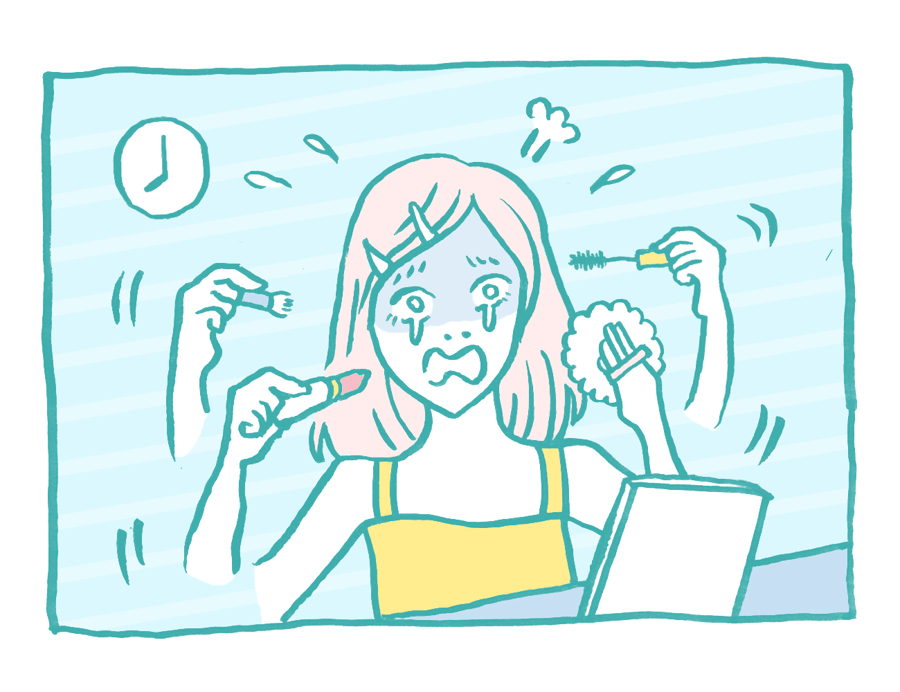 忙しい朝の化粧時間を短縮したい イラスト