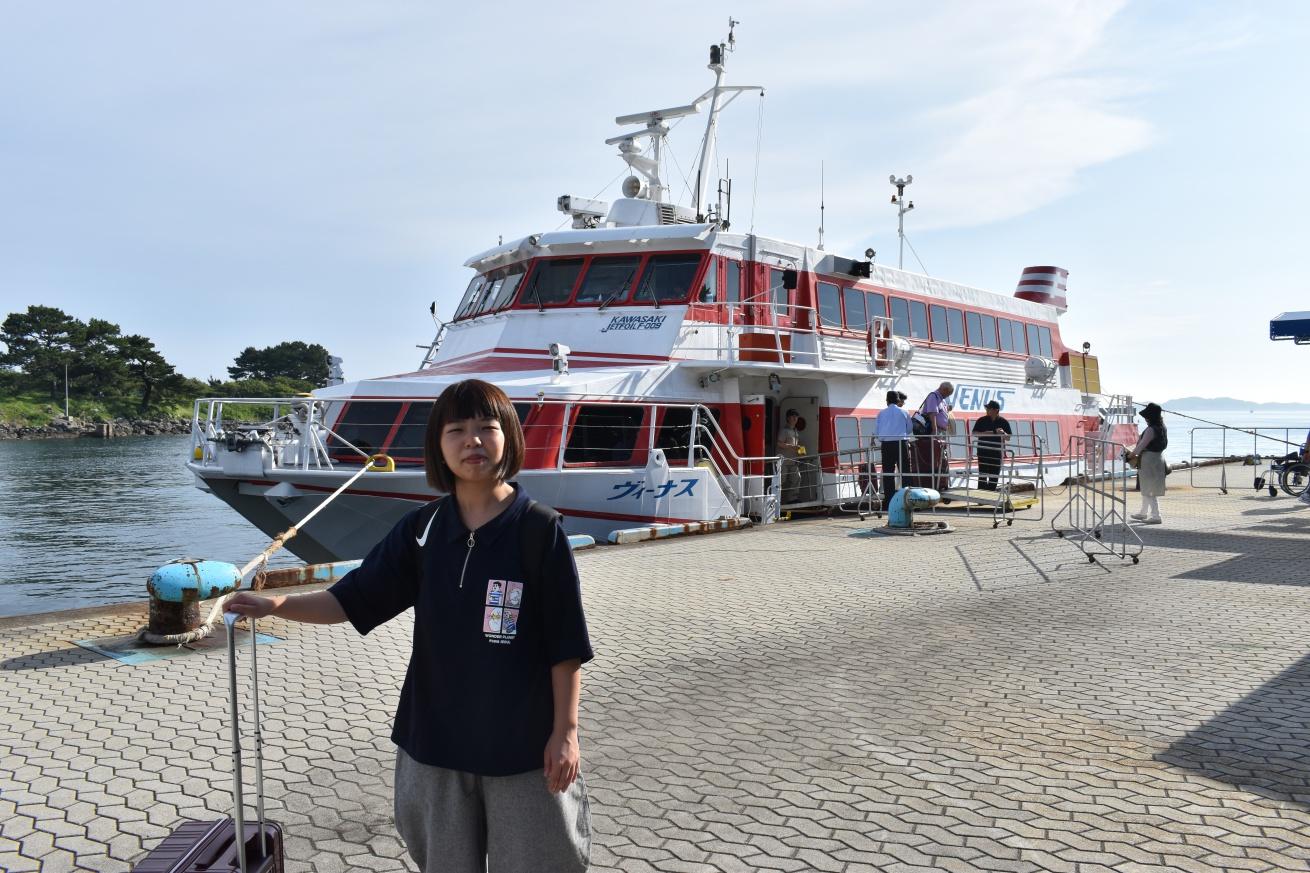 ジェットフォイルで壱岐島に到着した佐々木バージニアの写真