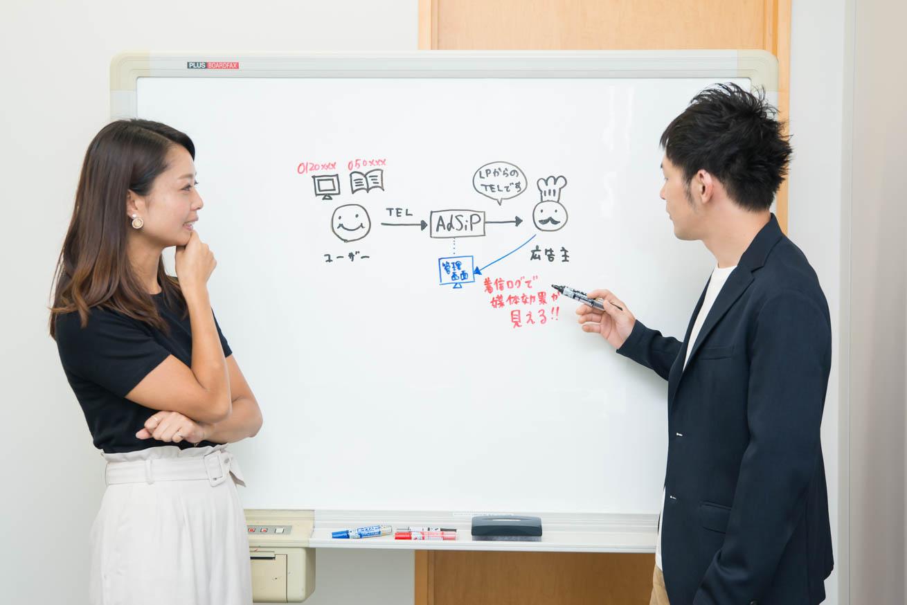 ホワイトボードで説明する長倉さん