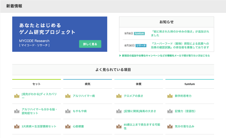 検査結果のトップページにある「よく見られている病気」のランキングの画像