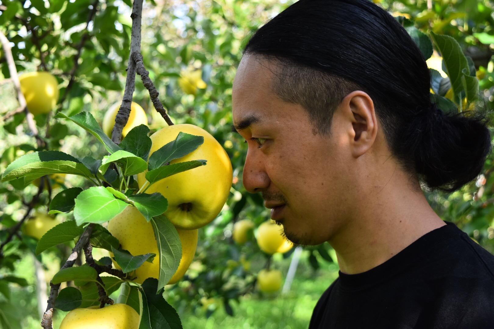 りんごを至近距離で見つめるマメさん