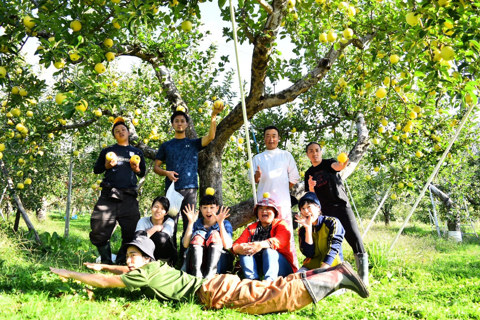 りんごの木々の前で集合写真