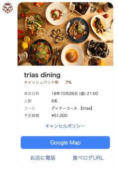 今回予約したレストランページキャプチャ