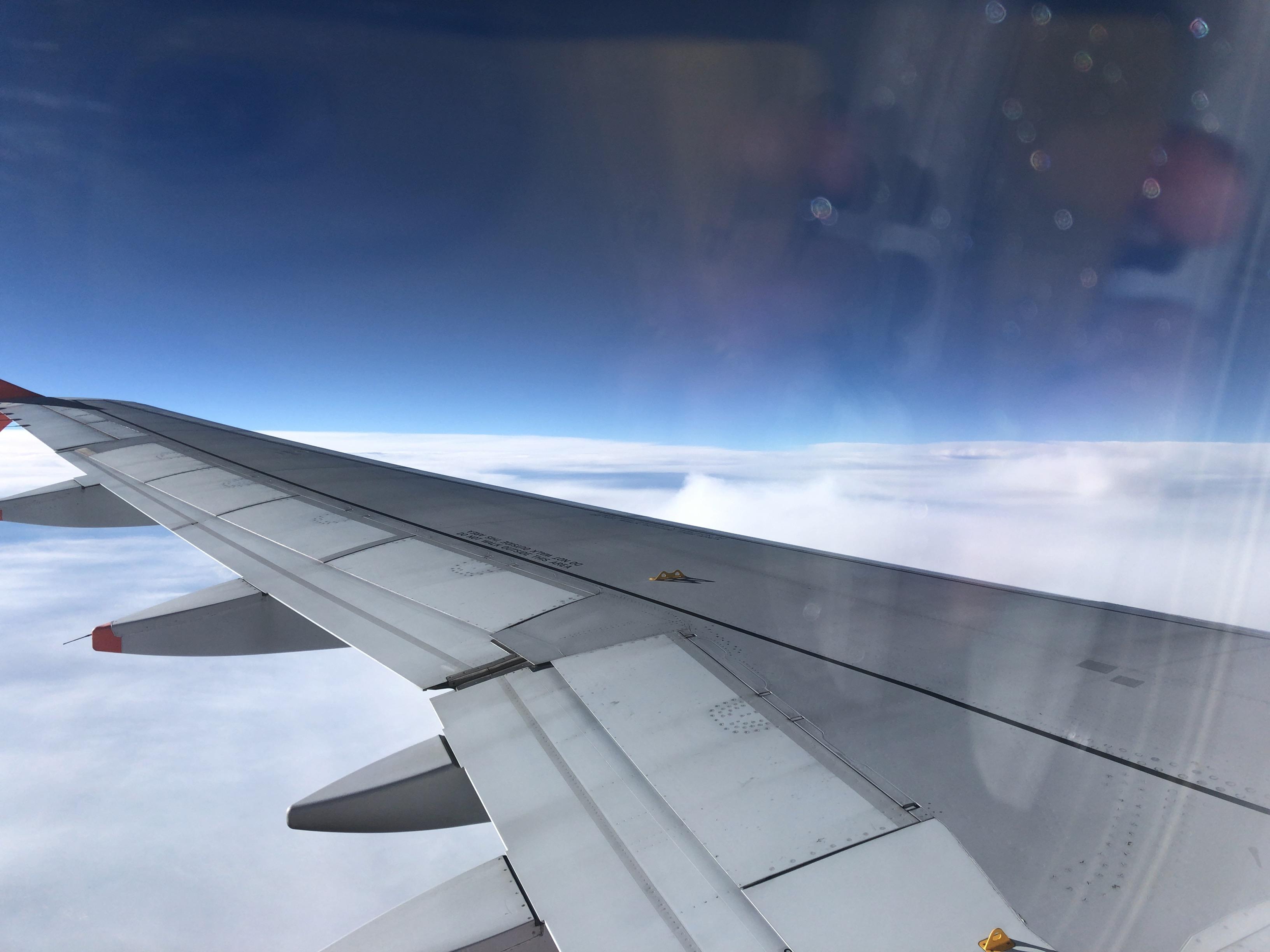 飛行機から見える外の写真
