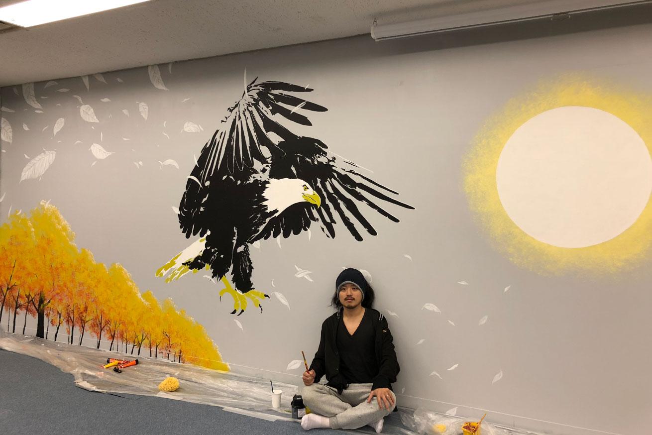 いいオフィス五反田壁画と田中ラオウ