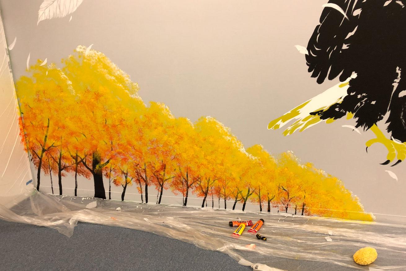 ファンタジックな仕上がりになった黄色い木々