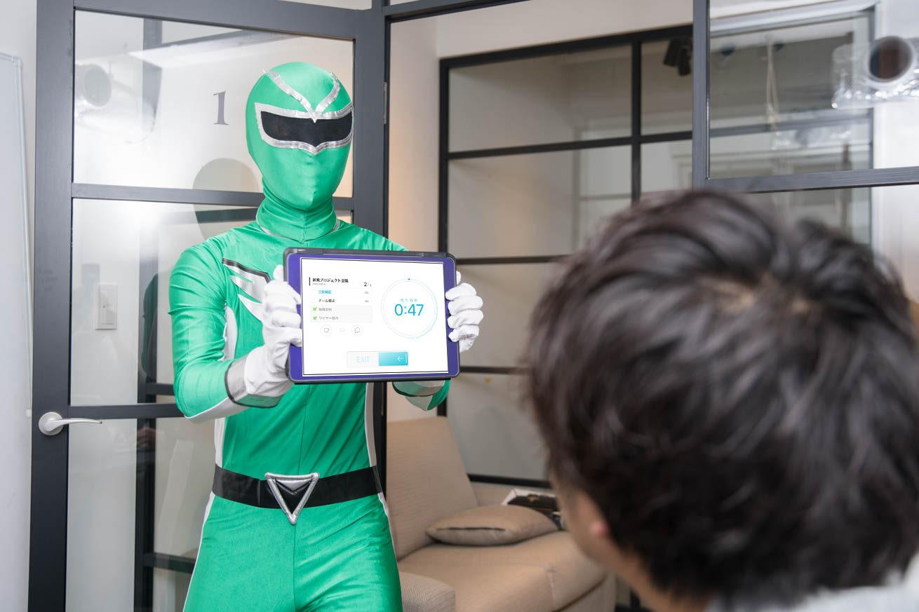 グリーンiPadを持っている
