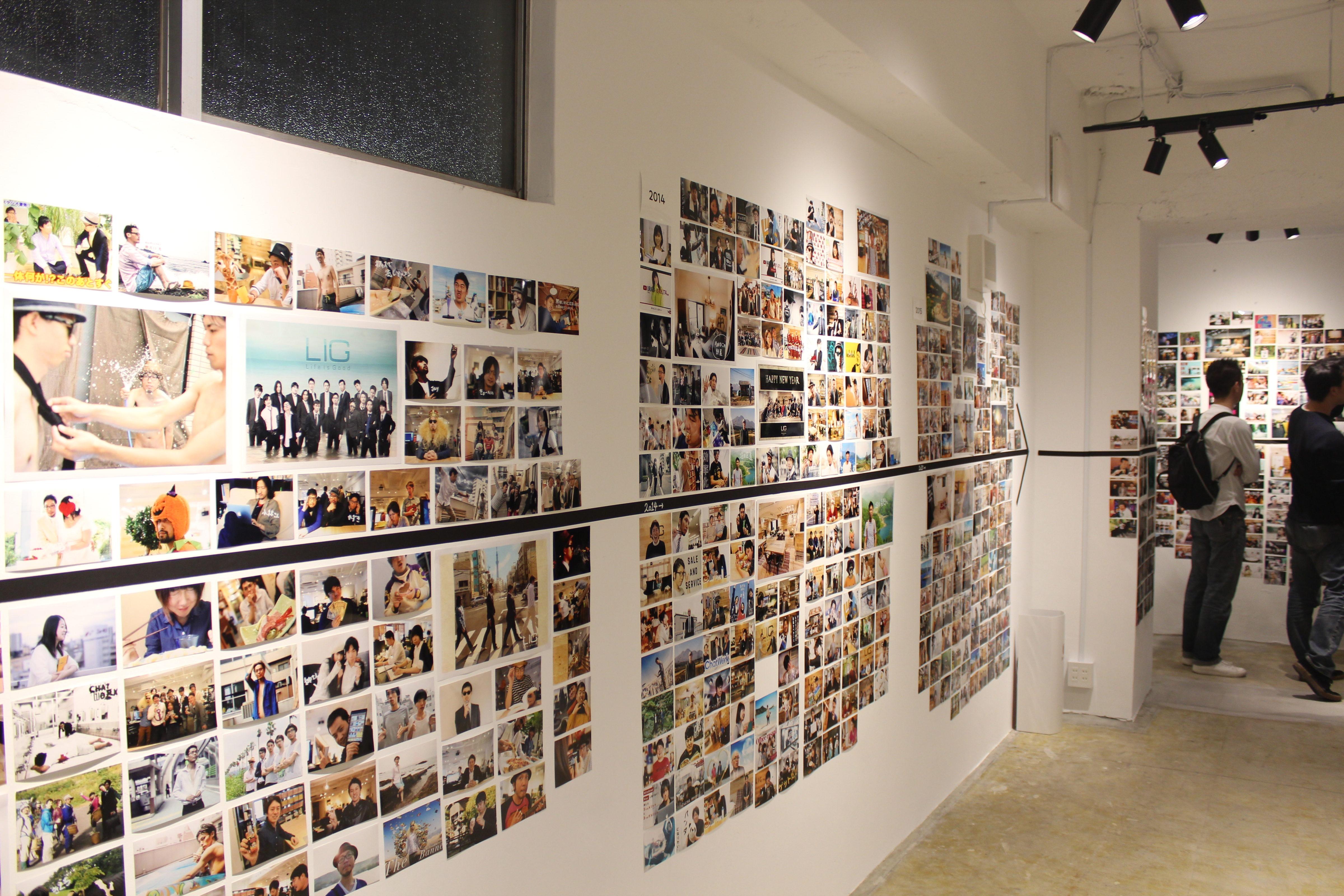 LIGビルの2階に、いままでのLIGブログの歴史をまとめた写真