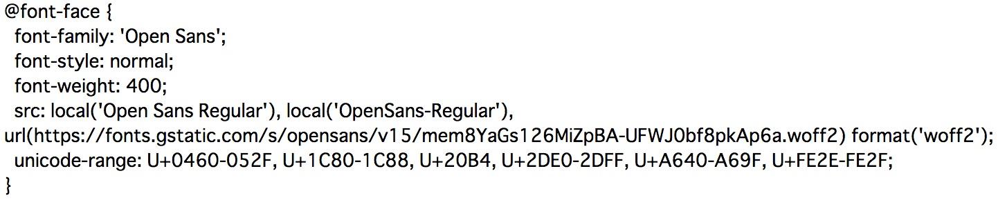 Google Fontsにリクエストすると返ってくるCSSのキャプチャ画像