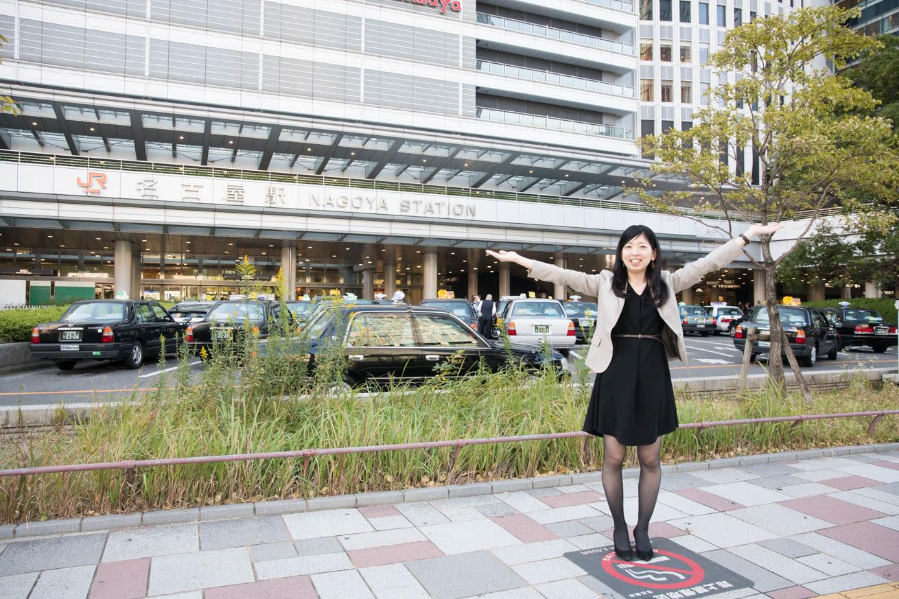 名古屋駅に到着したまこりーぬ