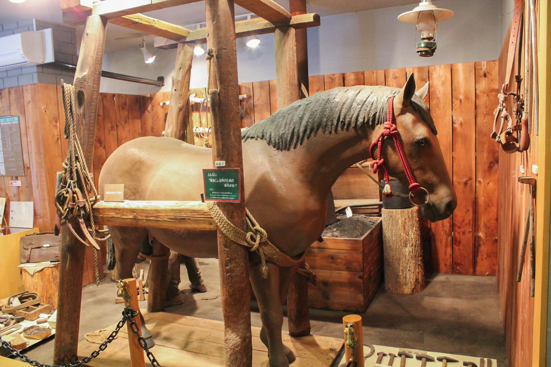 ばんえい競馬場内にある馬の資料館内部の様子