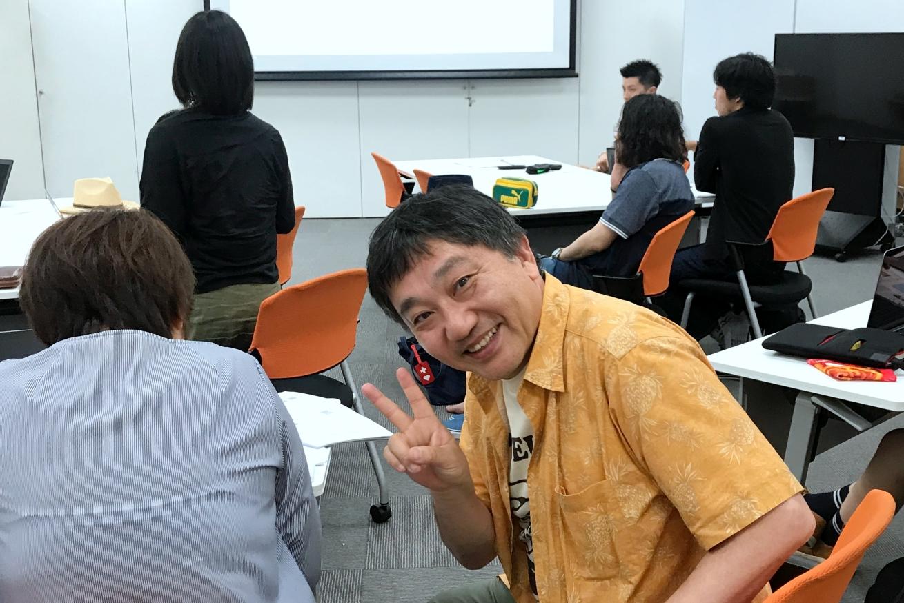 宣伝会議「編集・ライター養成講座 即戦力コース 米光クラス」に遊びにきたコラムニストの石原壮一郎さん。