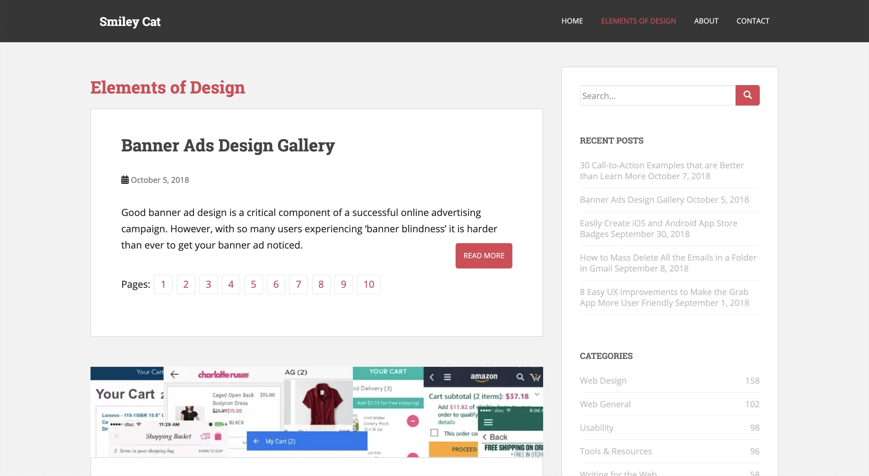 Elements of Designのギャラリーサイトのトップページ画像