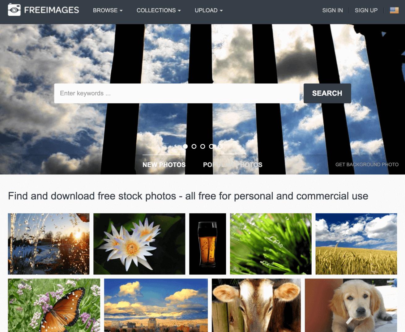 「freeimages」のサイトイメージ画像