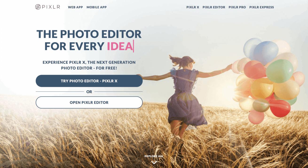 カメラアプリ「Pixlr-o-matic」のトップページの画像