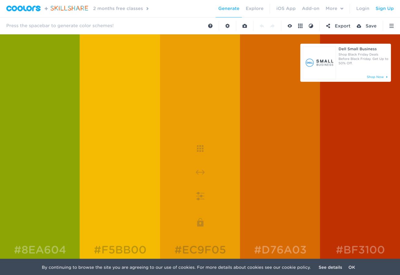 「coolors」サイトのイメージ画像