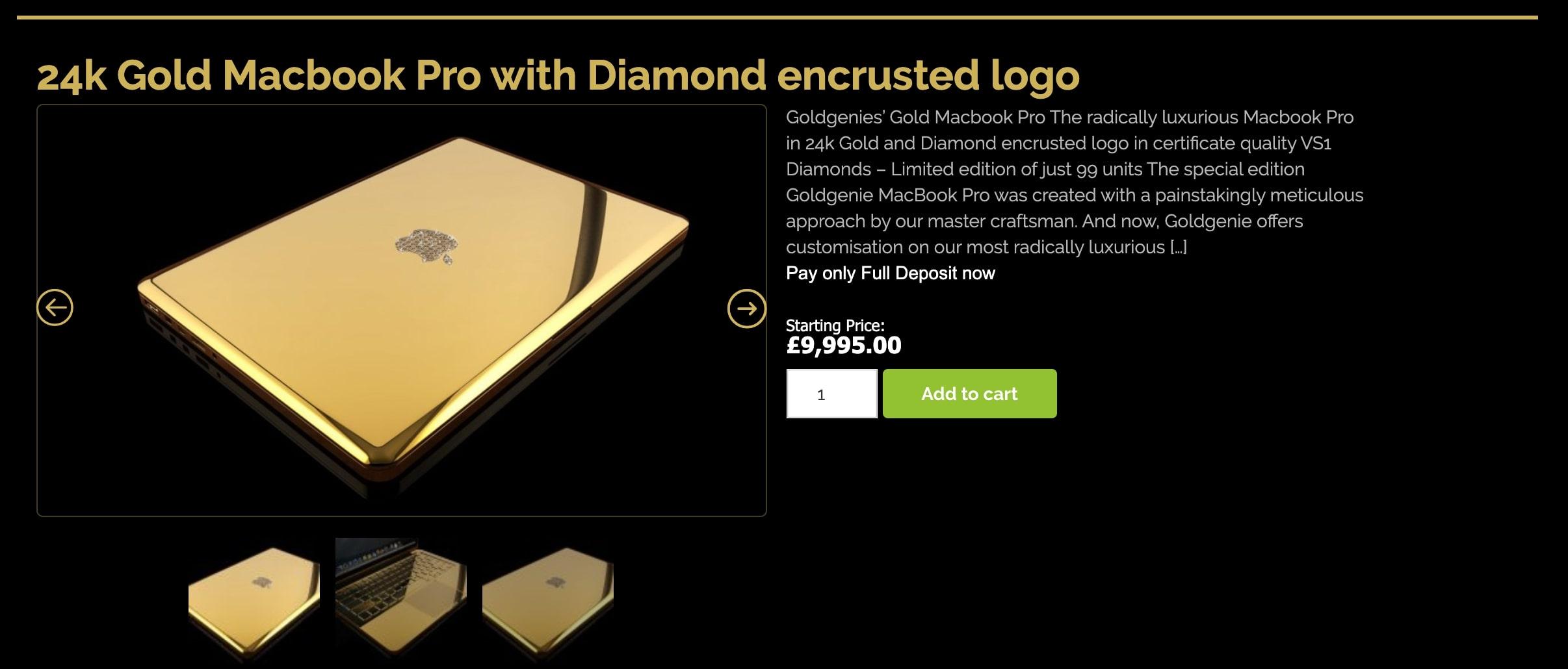 24金制のダイアモンド付きMacbook Proケース