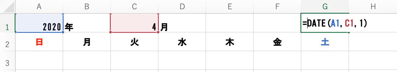 「= date ( A1,C1,1)」と入力したエクセルシート