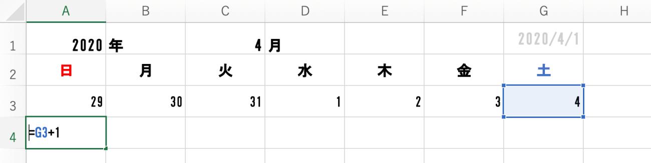 B3に「=A3+1」と入力されたエクセルシート