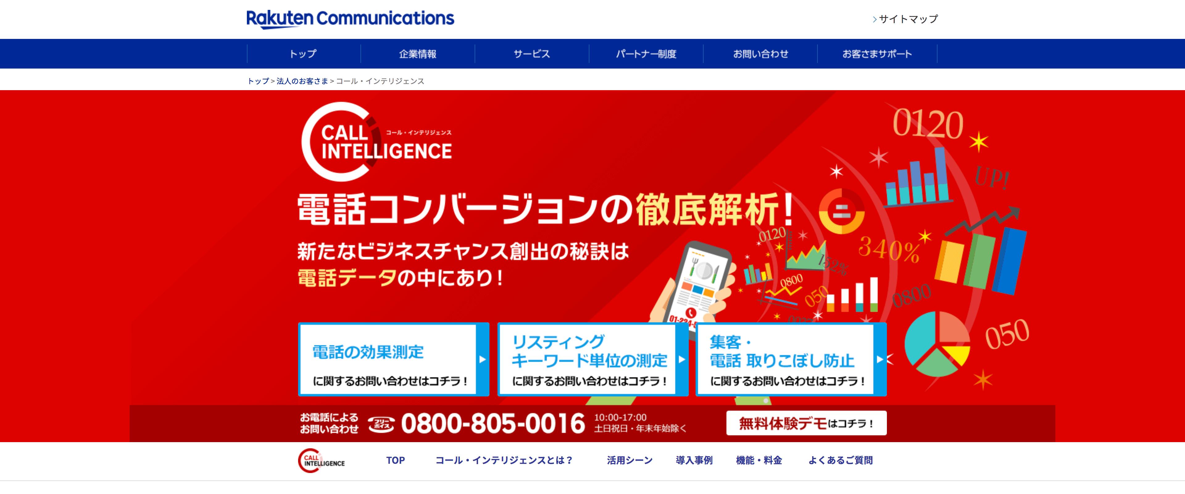 コール・インテリジェンスのサイト画面