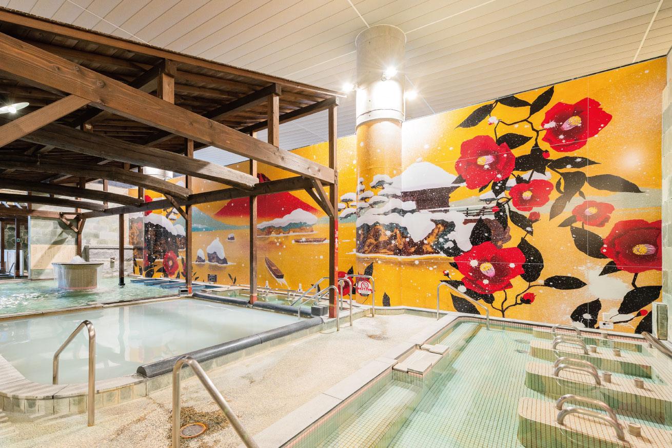17メートルの温泉の壁面用の絵画制作《喜助の湯 壁画》