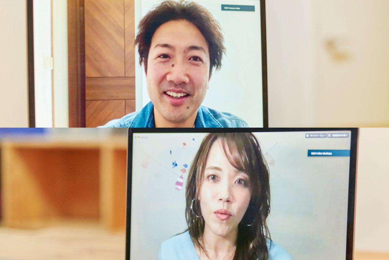 内藤さんと森数さんが話している写真(上段に内藤さん、下段に森数さん)