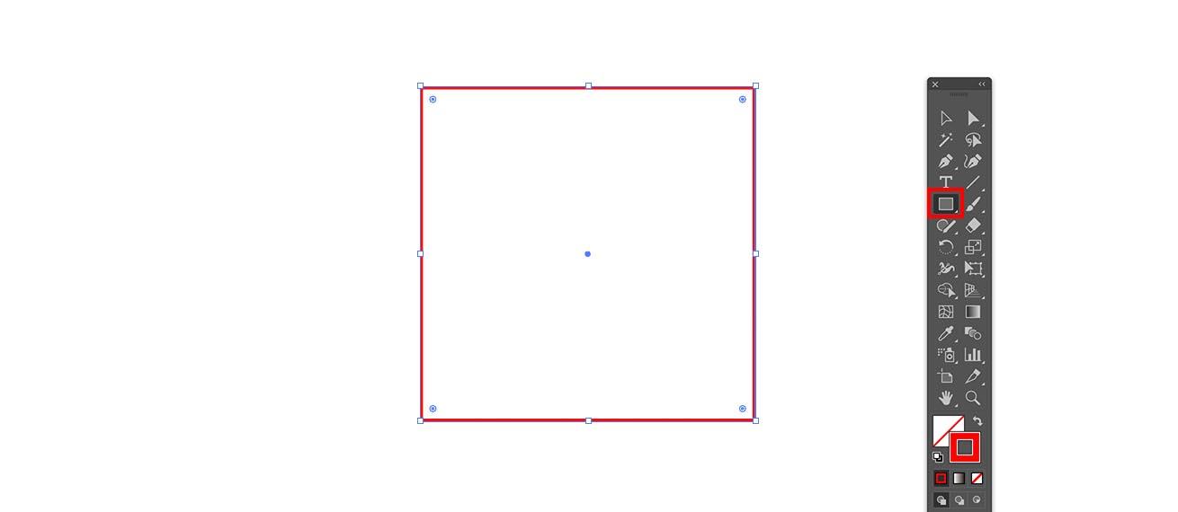Illustratorで塗なし、線のみで正方形を作成