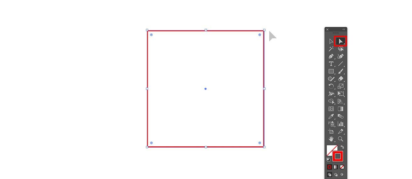 Illustratorで正方形の一角を削除