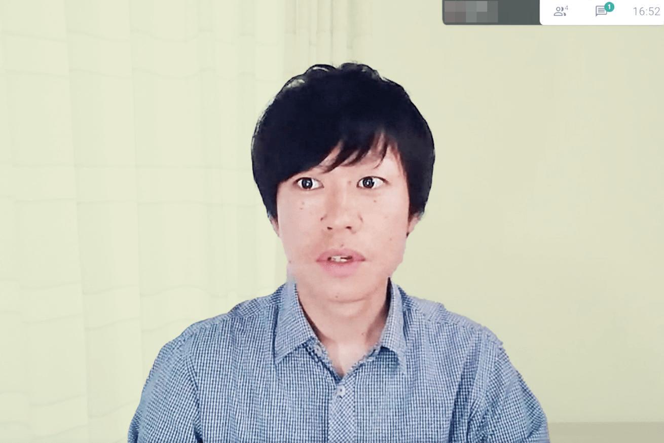 スクリーンショットで撮影したインフォコム大内さん(真剣な表情)