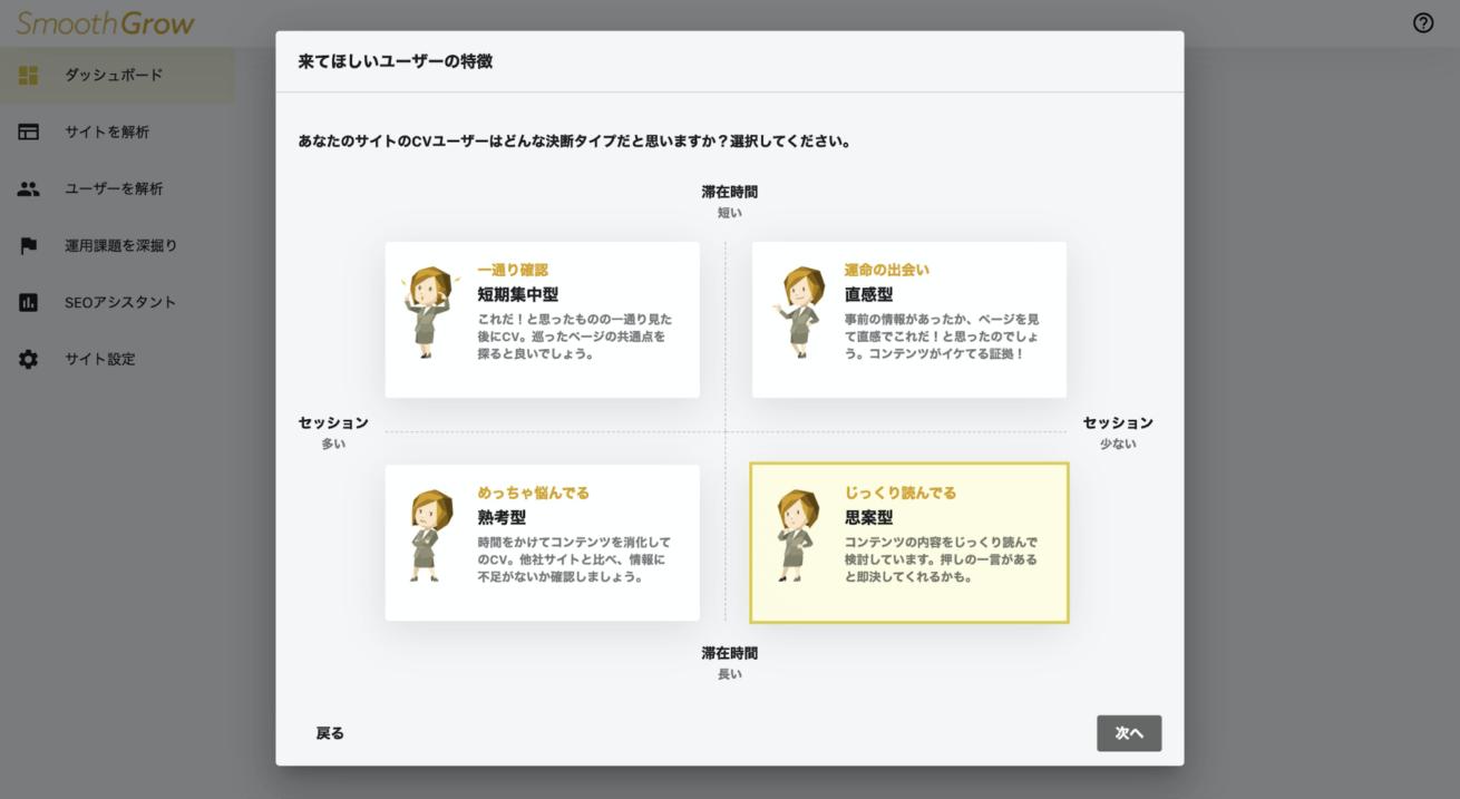 来てほしいユーザーの特徴を選択する画面