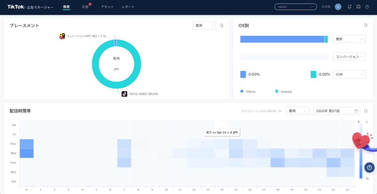 TikTok広告マネージャーの管理画面