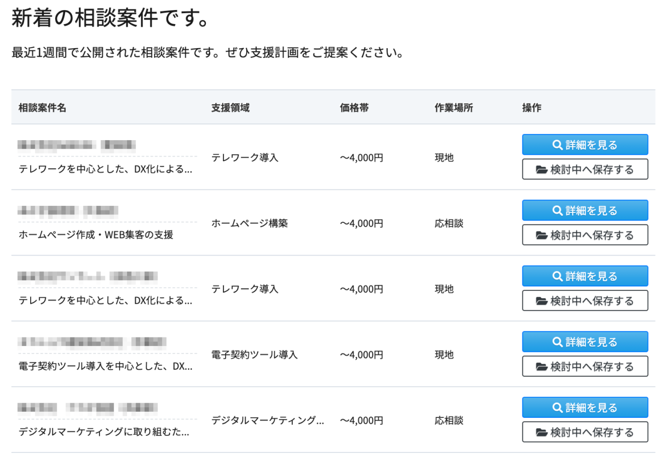 中小企業デジタル化応援隊事業の登録後の画面