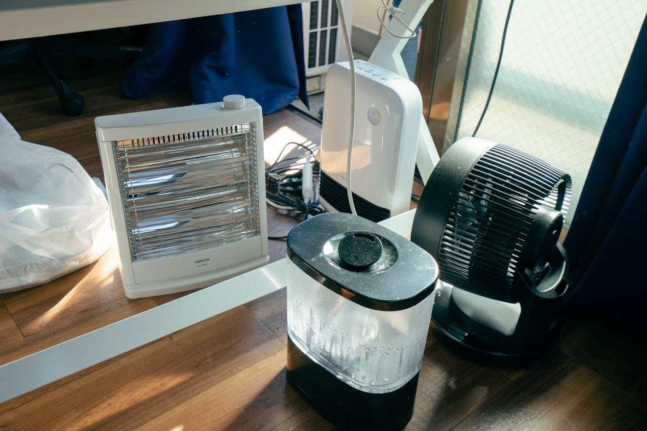 ヒーター、空気清浄機、加湿器、扇風機の写真