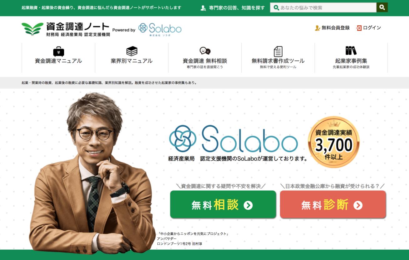 SoLaboが運営するメディア「資金調達」のファーストビュー