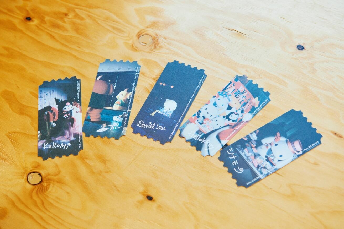 VIVA LA VALENTINEのチケットは裏面が全5種あり、描かれているキャラクターが異なる