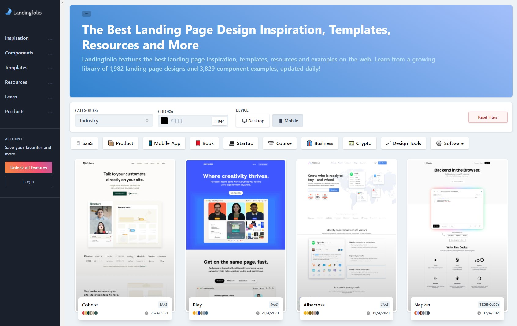 The Best Landing Page Design Inspiration, Templates, Resources and More | Landingfolio