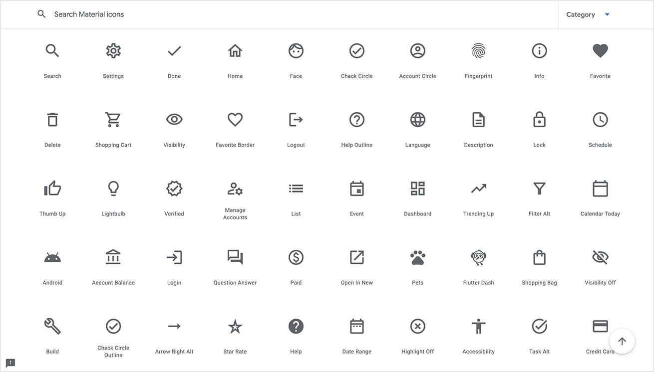 Material Iconsのトップページの画像